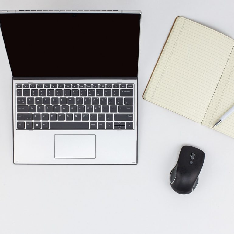 laptop, mobile phone, notepad